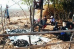 The process of digging a water well for the village